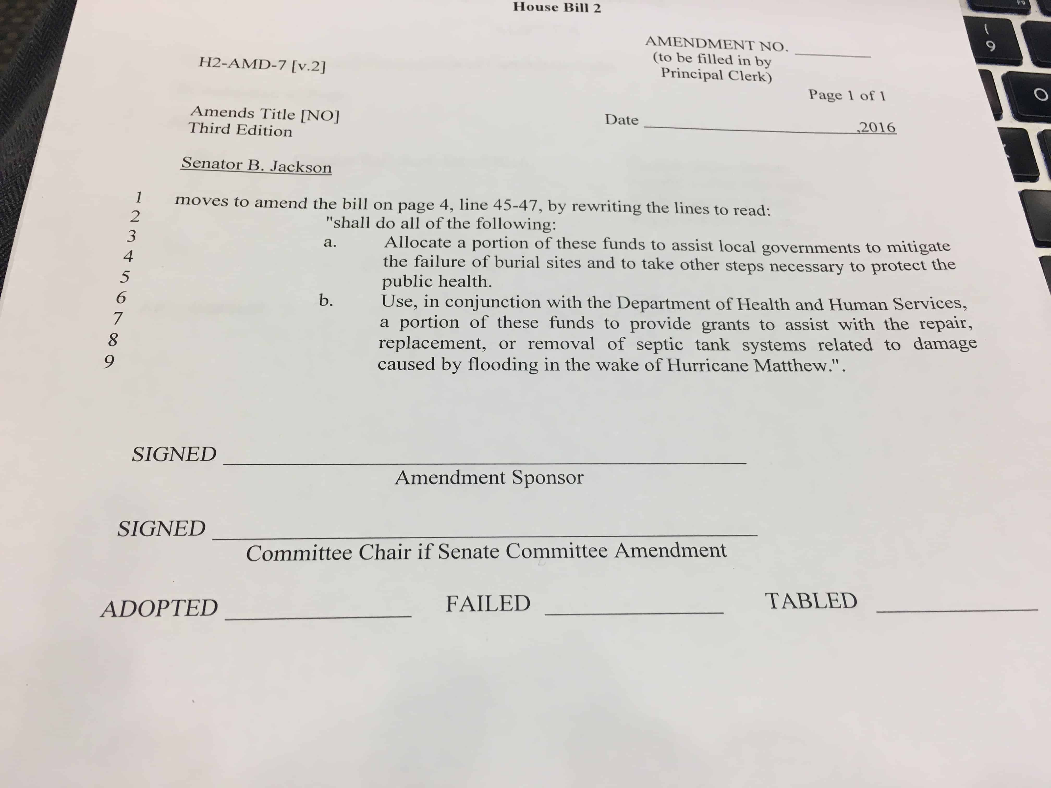 Amendment to disaster relief bill passed in Senate Appropriations